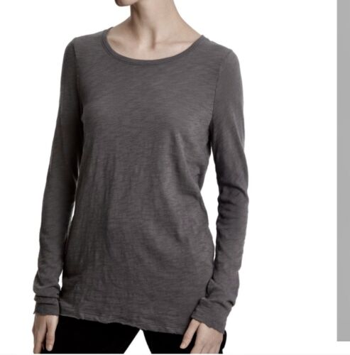 NWT Retail- $128 ATM Long Sleeve Destroyed Crew in Charcoal Grey Size Small