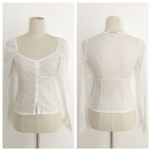 Vintage White Eyelet Milkmaid Edwardian Top Size X
