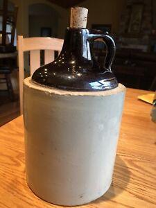 Red-Wing-Crock-Moonshine-Whiskey-Jug-Antique-Stoneware-Glazed-1-Gallon