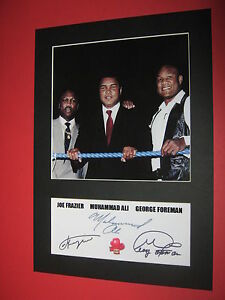 MUHAMMAD ALI GEORGE FOREMAN JOE FRAZIER BOXING  MOUNT SIGNED REPRINT AUTOGRAPHS - <span itemprop=availableAtOrFrom>newcastle underlyme, Staffordshire, United Kingdom</span> - returns excepted within 7 days Most purchases from business sellers are protected by the Consumer Contract Regulations 2013 which give you the right to cancel t - newcastle underlyme, Staffordshire, United Kingdom