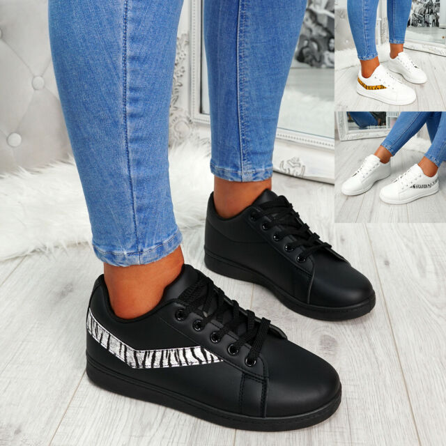 WOMENS LADIES ANIMAL PRINT LACE UP PLIMSOLLS TRAINERS WOMEN SNEAKERS SHOES