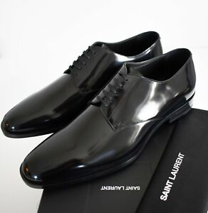 b76b9b407f Details about SAINT LAURENT Black Patent Leather MONTAIGNE 25 DERBY Formal  Shoes EUR-45 US-12