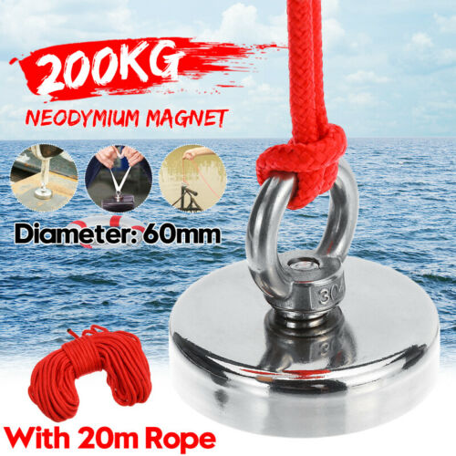 50//80//200//300KG Neodym Magnet superstark Fishing Schatzsuche Detector Haken Rope