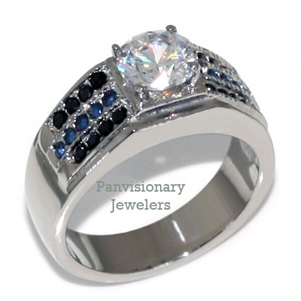 Thin Blue Line Ring 2.15ct Round Cz Stainless Steel