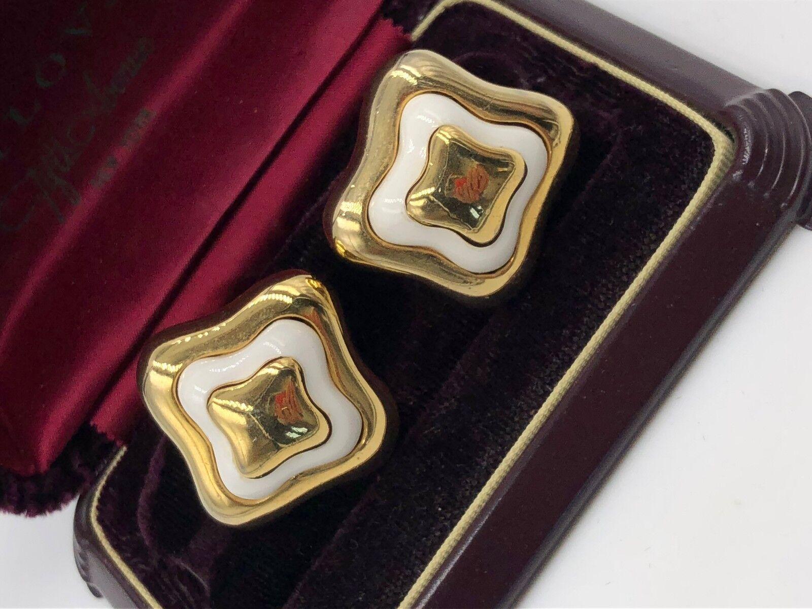 VINTAGE LANVIN SIGNED GOLD ENAMEL EARRINGS CLP FR… - image 6