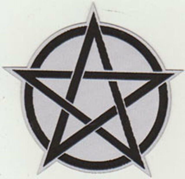 Pentagram Patch White Occult Satanism Witchcraft Devil Pagan Wicca Pentacle Star