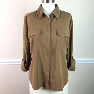Chicos-2-Womens-Top-Button-Front-Roll-Tab-Sleeve-Collared-Soft-Stretch-Size-L