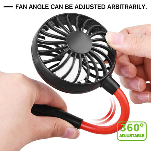 Portable Lazy Neck Mini Fan USB Rechargeable Neckband Dual Cooling Hanging Style