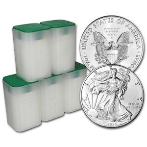 2020 American Silver Eagle 1 oz $1 - 5 Rolls - 100 BU Coins in 5 Mint Tubes