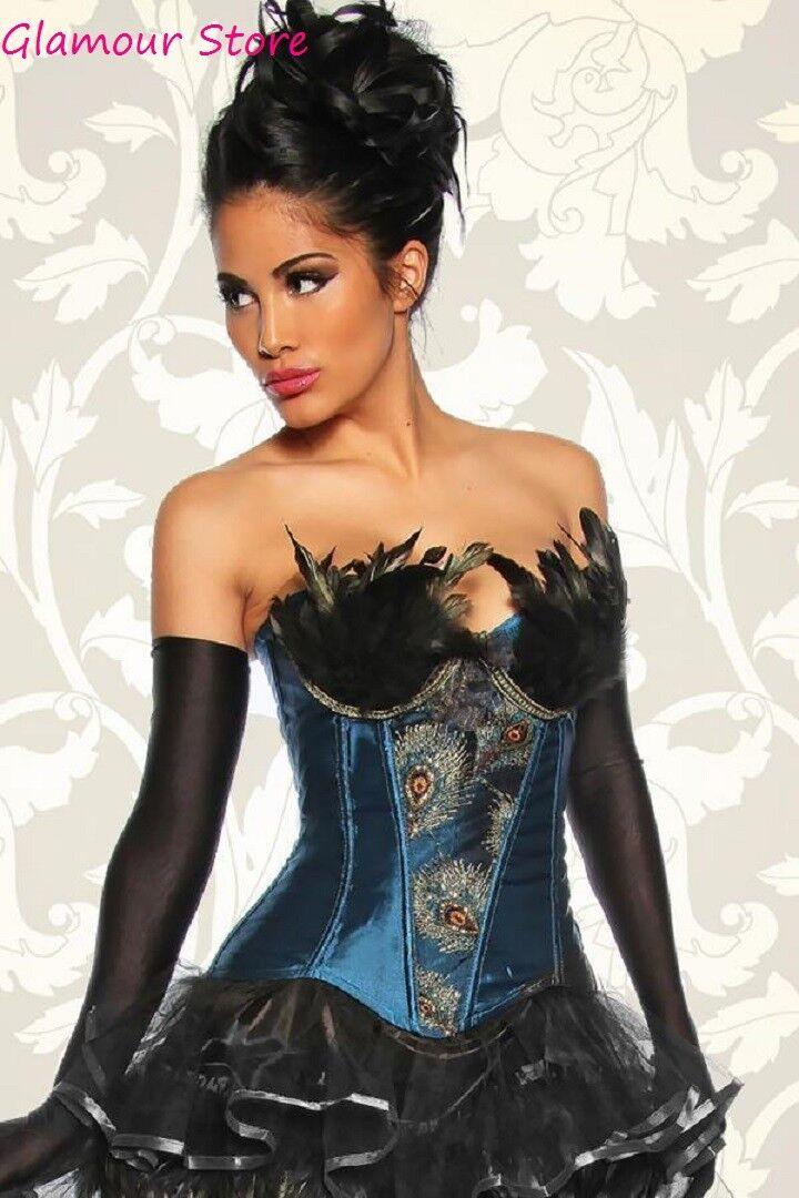 SEXY corsetto BURLESQUE taglia M (42) bustino piume Fashion GLAMOUR