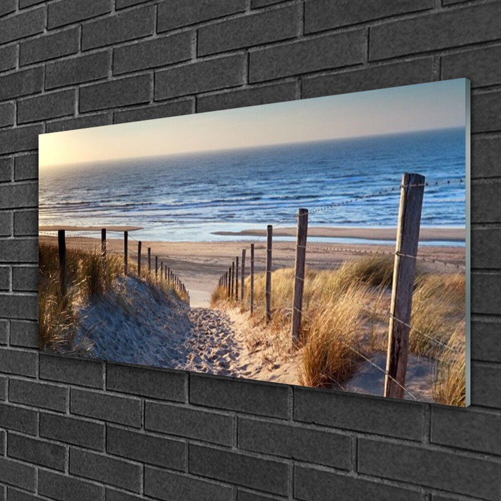 Tableau sur verre Image Impression 100x50 Paysage Sentier Plage