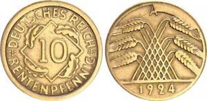 Weimar 10 Pfennig J.309 1924 A Strong Stempelausbruch VF 30441