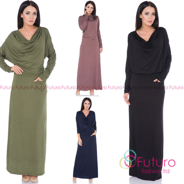 a2191c8075f6 Ladies Semi-Formal Casual Cowl Neck Batwing Long Sleeve Ankle Length Dress  FM39