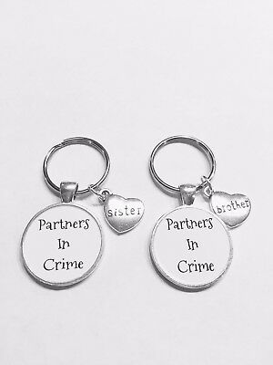 2 Keychains Partners In Crime Brother Sister Sibling Key Chain Set