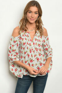 New-Boho-Western-Roses-Cold-Shoulder-Pleated-Hi-Low-Blouse-Top-S-M-L