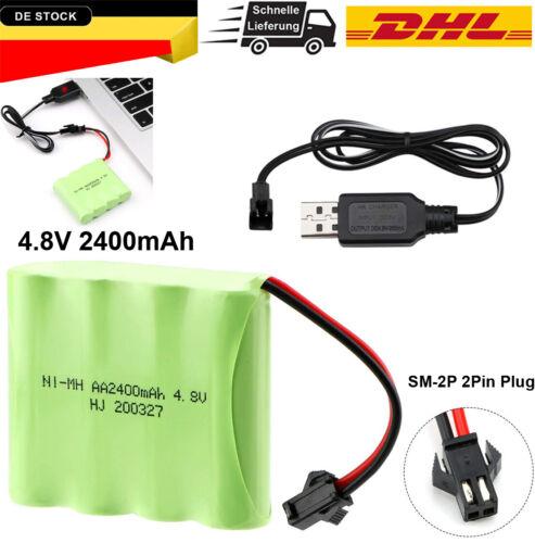 4.8V 2400mAh Ni-MH Batterie Pack Akku mit USB Ladegerät für RC Truck Cars