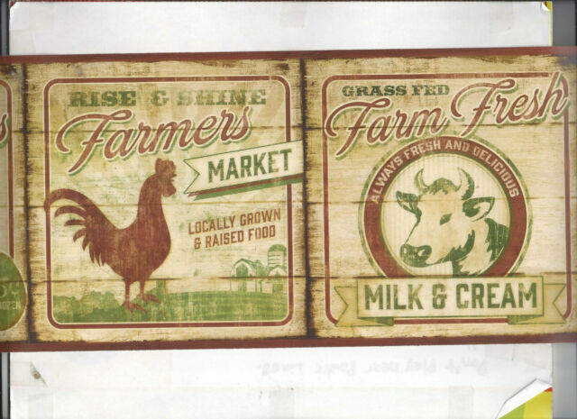 COUNTRY KITCHEN COW ROOSTER EGGS NEW ARRIVAL WALLPAPER BORDER FARM WOOD