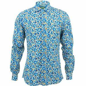 various colors de0a1 6fee0 Dettagli su Camicia da uomo forte Originals Slim Fit Fiori Blu Retro  Psichedelico Costume- mostra il titolo originale