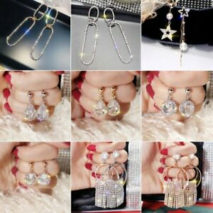 Charm-Zircon-Tassels-Star-Women-Crystal-Gold-Silver-Earrings-Ear-Stud-Jewelry