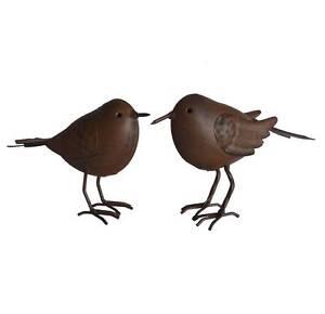 2-style-ancienne-statue-sculpture-oiseaux-animaux-en-metal-fer-marron-11x15cm