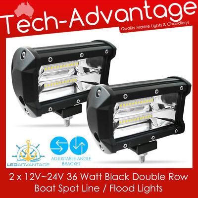 2 X 12V~24V 18W WHITE LIGHT-WEIGHT LED WATERPROOF BOAT//CARAVAN FLOOD DECK LIGHT