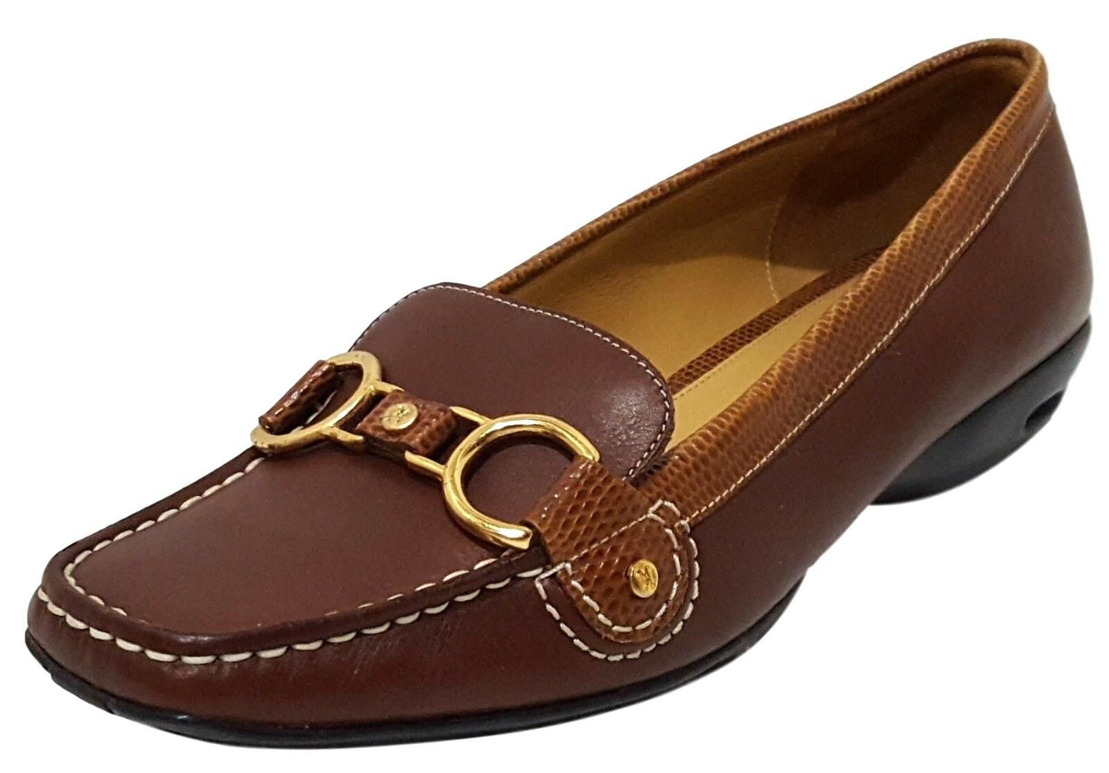 NEW COLE HAAN Air Treva Brown Leather Slip On Bit Loafer shoes Flats Womens 6.5