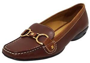 NEW COLE HAAN Air Treva Braun Leder Slip On Loafer Bit Loafer On Schuhe Flats c2ddd3