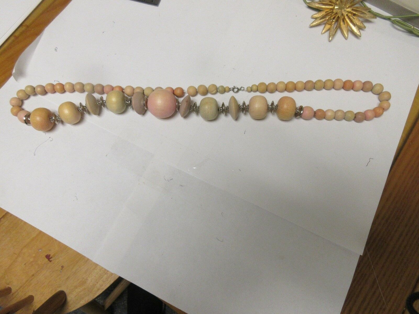 "Costume Jewelry ,Vintage , Necklace , 30"" , Wood Beads"