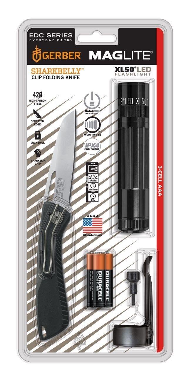 MAGLITE ® XL50 LED Mag-Lite Taschenlampe + Gerber Sharkbelly