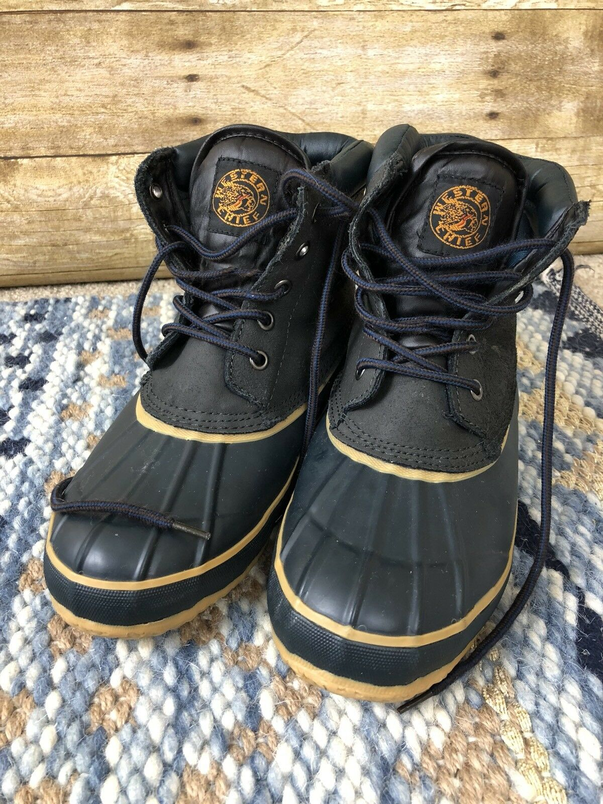 Western Chief Navy Blue Lace Up Duck Boots Navy Size 8 US Steal Shank Thermo
