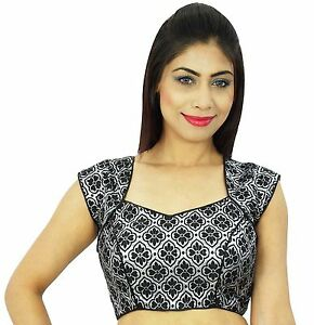 Bollywood-Designer-Blouse-Ready-Made-Women-Saree-Choli-Weaving-Crop-Top-BL99A