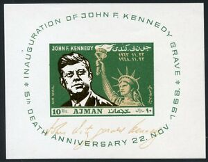 AJMAN-JOHN-KENNEDY-amp-STATUE-OF-LIBERTY-IMPERF-GOLD-FOIL-SOUVENIR-SHEET-MINT-NH
