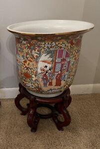 Antique Mandarin Family/Geisha HandPainted Porcelain Fishbowl Planter