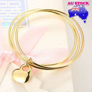 Wholesale-18K-Yellow-Gold-Filled-3-Hoops-High-Polished-Solid-Love-Heart-Charm-Br