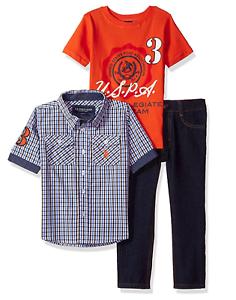 U.S Boys Long Sleeve Shirt and Pant Set Polo Assn