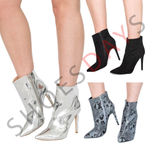 Ladies Silver Shiny Metallic Mirror High Heel Ankle Boots Pointed Toe Shoes Size