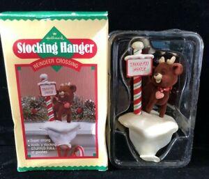 Vintage1987-Hallmark-Christmas-Stocking-Hanger-REINDEER-CROSSING-w-Box-QSH812-7