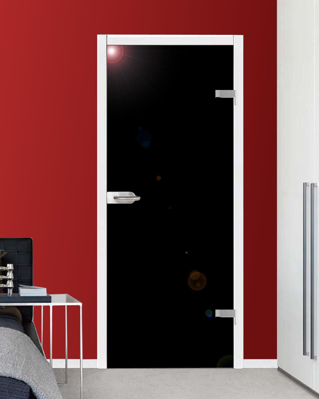 VSG Ganzglastür Drehtür Zimmer Glastür hochglanz schwarz 959x1972mm mit Beschlag
