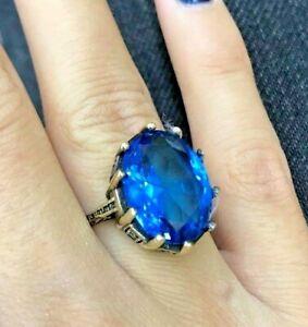 925-Sterling-Silver-Handmade-Gemstone-Turkish-Sapphire-Ladies-Ring-Size-6-10