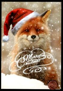 Details About Christmas Red Fox Santa Hat Posing Beautiful Merry Christmas Greeting Card New