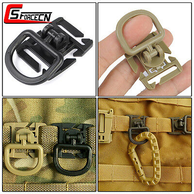 1pc Tactical Molle Clamp Plastic Clip with Rotatable D Buckle for Bag Backpack