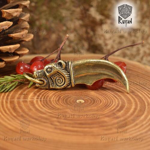 Bronze Bear Bear Claw Pendant Viking Bear Head Viking jewelry Details about  /Bear Pendant