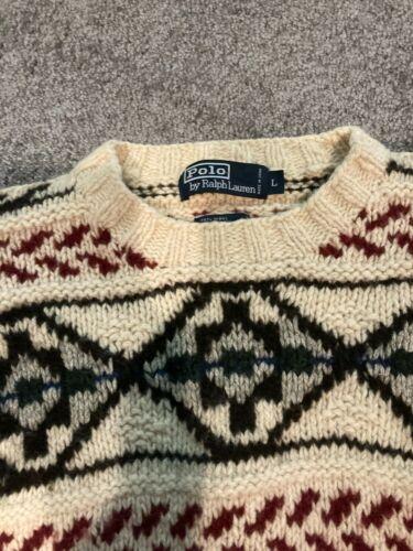 Vtg Polo Ralph Lauren Hand Knit Sweater Large Chri