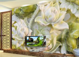 3D White Stone Lotus 7 Wall Paper Murals Wall Print Wall Wallpaper Mural AU Kyra