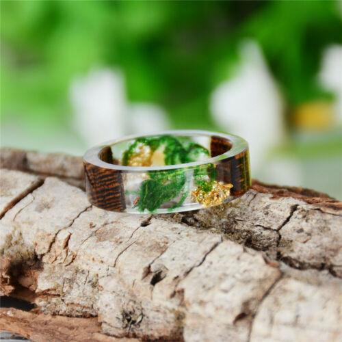 Wood Resin Ring Secret Men Women Handmade Flower Plant Wooden Clear Jewelry Gift