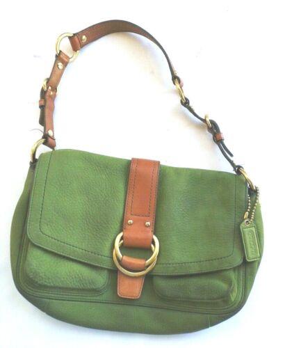 Coach Lime Green Pebble Leather Shoulder Bag Duffl