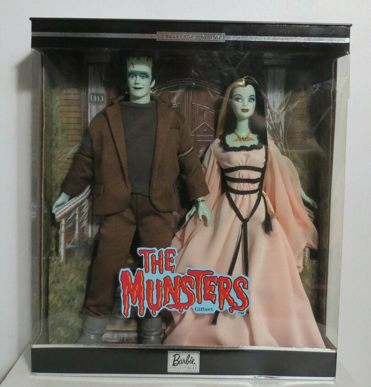 The Munsters Herman & Lily Barbie Y Ken Conjunto de Regalo Edición Coleccionista Nuevo en caja nunca quitado de la caja