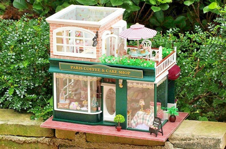 Miniture KIT FAI DA TE MOBILE IN LEGNO casa delle bambole Parigi Coffee & Cake Shop GIOCATTOLI REGALO