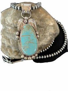 Mens-Navajo-Pearls-Sterling-Silver-Blue-Turquoise-8-Necklace-Pendant-906-Rare
