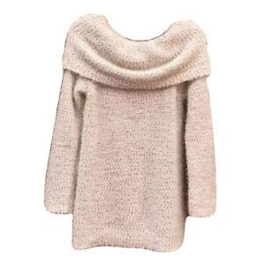 NWOT-Lauren-Conrad-Sweater-Fuzzy-Cream-Cowl-Off-Shoulder-Soft-Tunic-Romantic-XL